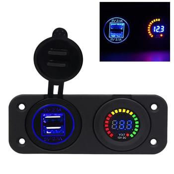 Dual 12v Car Cigarette Lighter Socket Splitter USB 3.1A Power Adapter Charger Digital Voltmeter for Auto Motorbike Boat