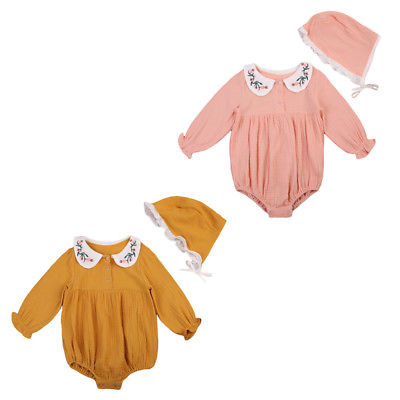 Autumn Toddler Infant Kids Baby Girls Floral Romper Jumpsuit Long Sleeve Playsuit +Hat Fall Cotton One-Piece Clothes 2016 hot selling baby kids girls one piece sleeveless heart dots bib playsuit jumpsuit t shirt pants outfit clothes 2 7y