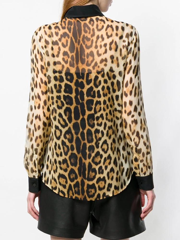 Женские шифоновые рубашки с леопардовым принтом, весна лето 2019, сексуальные рубашки и блузки G155 - 3