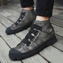 Tleni 2019 Для мужчин ботильоны на шнуровке обувь на плоской подошве с высоким берцем кожаная спортивная обувь зимние теплые меховые черные Для Мужчин's senakers обувь ZE-58