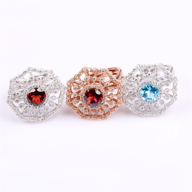 Fashion jewelry ring silver rose gold inlaid natural garnet Semi-precious stones Ring Silver Ring for women