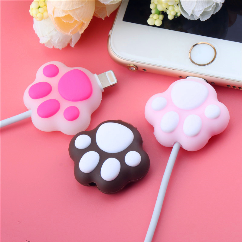 Cartoon Data Line Cord Cat Paws Cable Bite Protector For Iphone11 USB Cable Wire Winder Cover Cute Stitch Organizer Holder