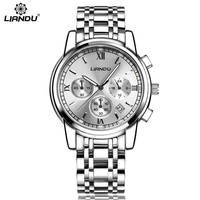 LIANDU Auto Date Chronograph Men Watch Waterproof Fashion Casual Steel Strap Military Sport Watches Clock Relogio