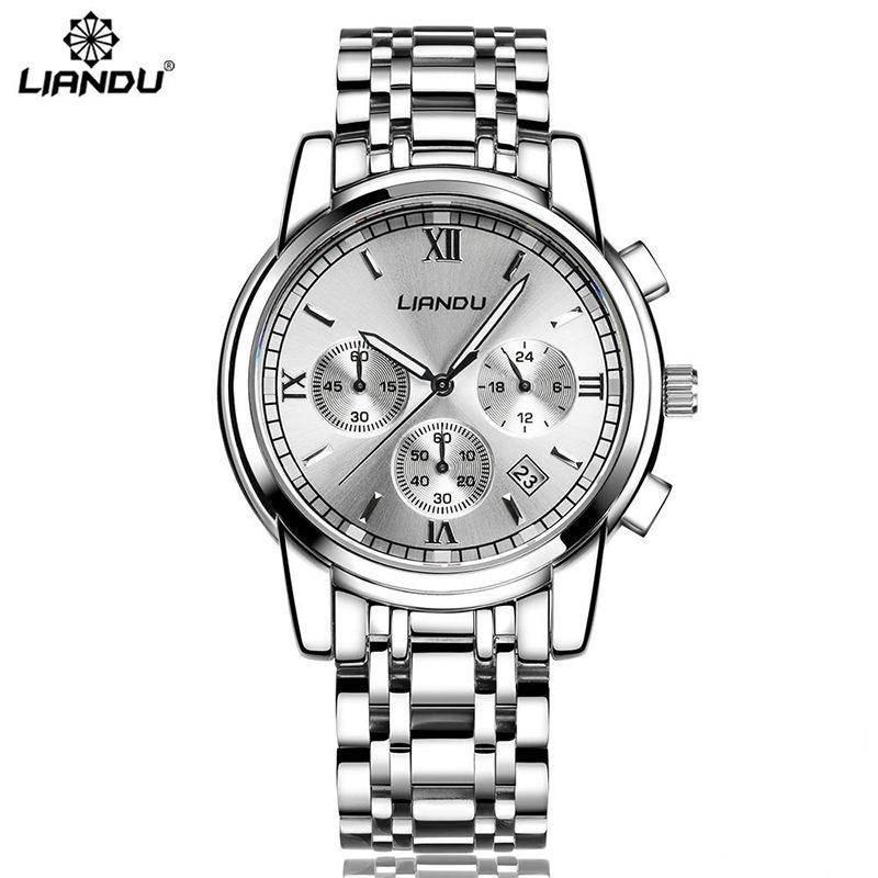 relogio masculino LIANDU Mens Watches Top Brand Luxury Sport Quartz Watch Men Business Stainless Steel Waterproof