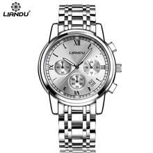 LIANDU relogio masculino Relojes Para Hombre de Primeras Marcas de Lujo Del Cuarzo Del Deporte Reloj de Los Hombres de Negocios de Acero Inoxidable Reloj Impermeable