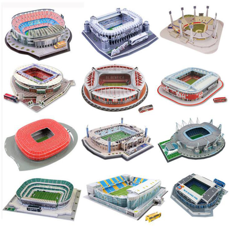 Classic Paper Jigsaw Atletico Madrid 3D Puzzle Architecture Stadio France Parc Des Princes Football Stadiums Toys Models