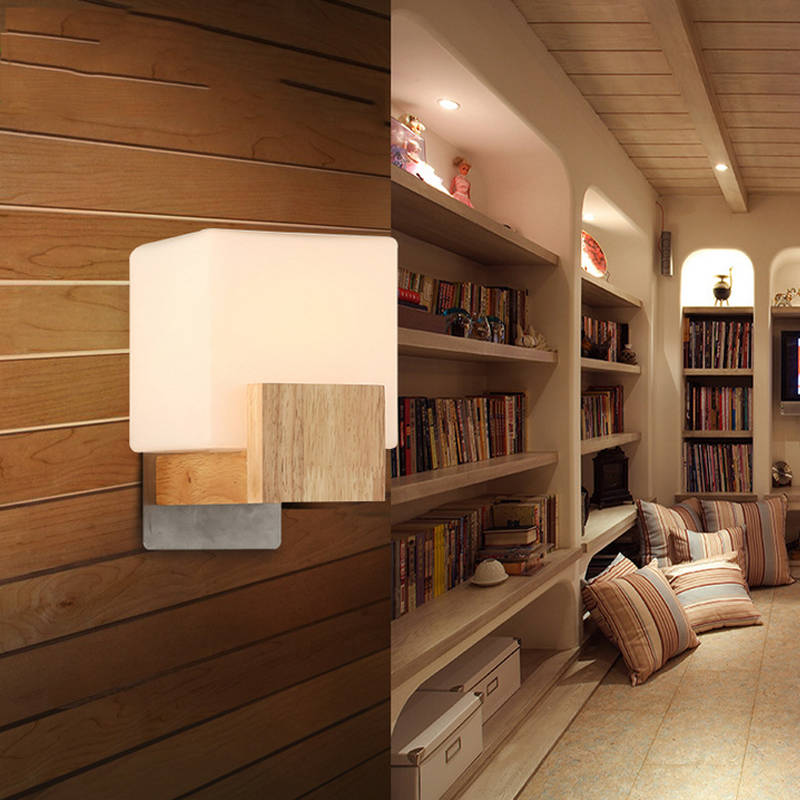 Modern Minimalist Wall Lamp Solid Wood Lamps Frosted Gl Oak Lights Indoor Home Lighting Fixtures Decoration Bedroom Sconce In Led From