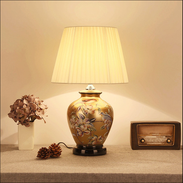 Chinese Style Flower Bird Brown Ceramic Art Table Lamps Fashion