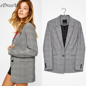 Vintage Plaid Blazer Women Single Breasted Jacket British Korean Style Elegant Office Autumn Grey Work Suit HX-1801