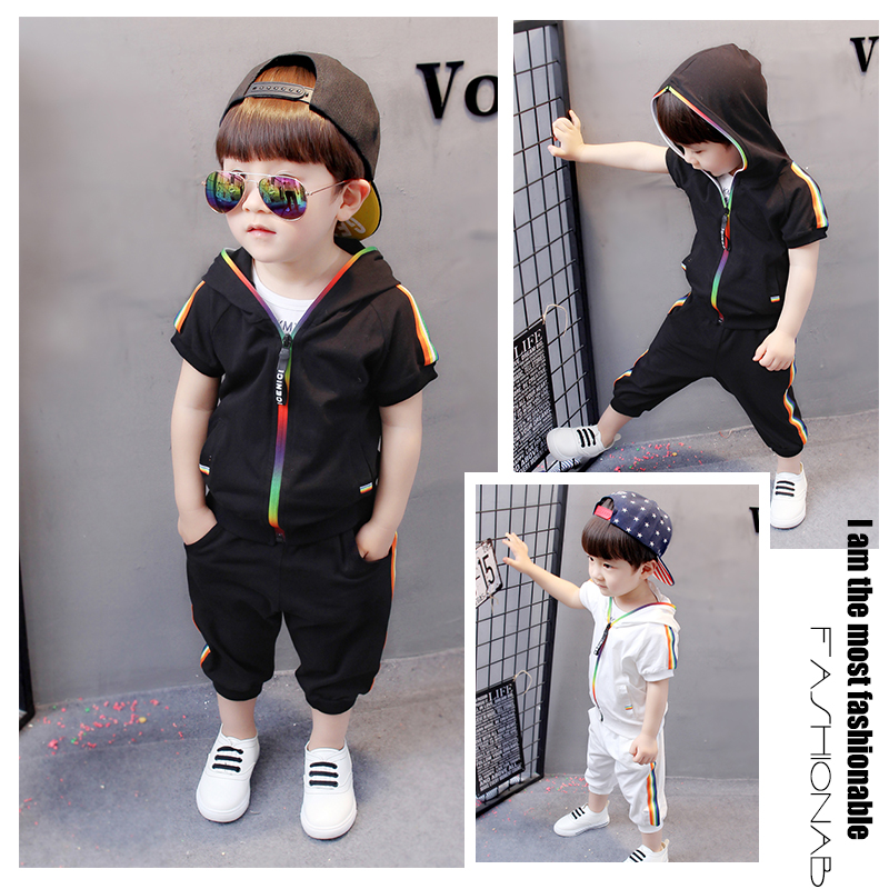 Kid Boy Girl Clothes Sportswear Summer Fashion Short Sleeve Colorful Zipper Hooded Clothing For Girls Children Outfit Set 2