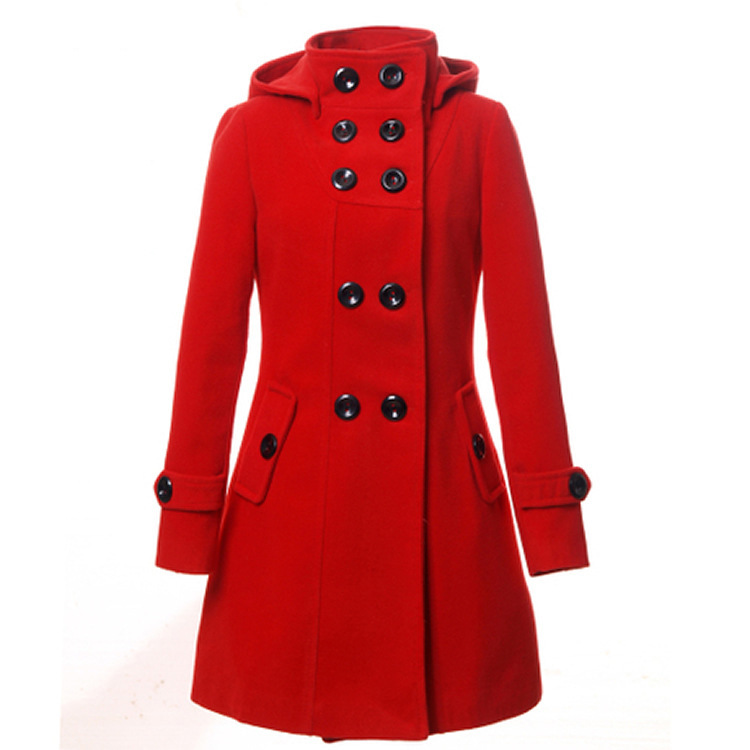 New Women Winter Fashion Wool Coat Women Cotton Coat Long section Slim Hooded Double Breasted jacket