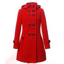 Новый Женский Зимняя Мода Шерстяное Пальто Женщины Пальто Хлопка Длинный отрезок Тонкий С Капюшоном Двойной Брестед куртка Пальто свободный Верхняя Одежда