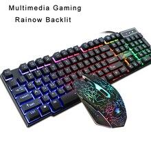 Teclado mecânico combos de rato usb com fio backlit gaming keyboard conjunto de ratos 104 teclas pc arco íris iluminado teclado mouse kit