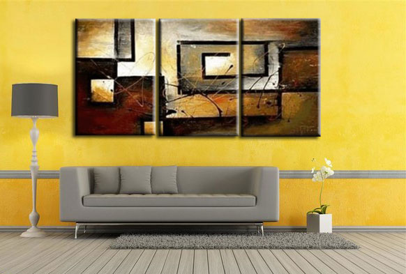 Home wall art Home Decor Three combine abstract oil painting Hand ...