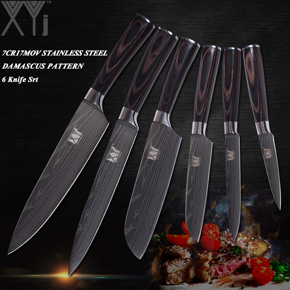 XYj Damascus Veins Stainless Steel Knife Sets High Carbon Blade Wood Handle Kitchen Knives Set Exquisite Kitchen Gift 6 Pcs Set|steel knife set|knife set|stainless steel knife set - title=