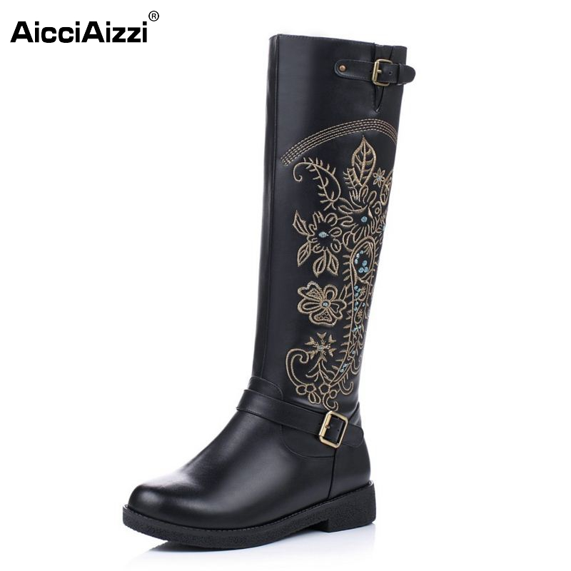 Vintage Women Genuine Real Leather Knee Boots Winter Boot Sexy Square Heel Round Toe Zipper Fashion Women Boots Shoes Size 33-40 vinlle women boot square low heel pu leather rivets zipper solid ankle boots western style round lady motorcycle boot size 34 43