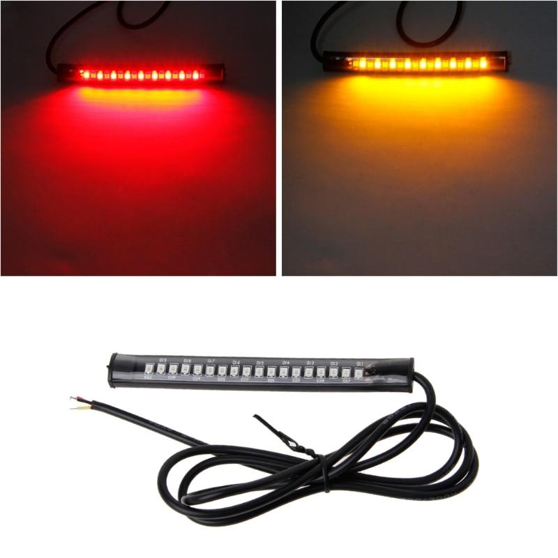 Universal 18LED Motorcycle Tail Brake Stop Turn Signal Lamp Flexible Strip Light