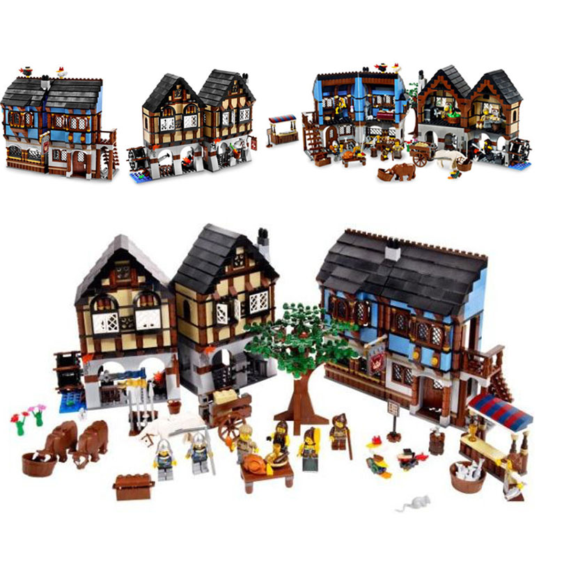 LEPIN 16011 1601Pcs Castle Series The Medieval Market Village Castle Model Building Kit Block Bricks Compatible with Lepin 10193