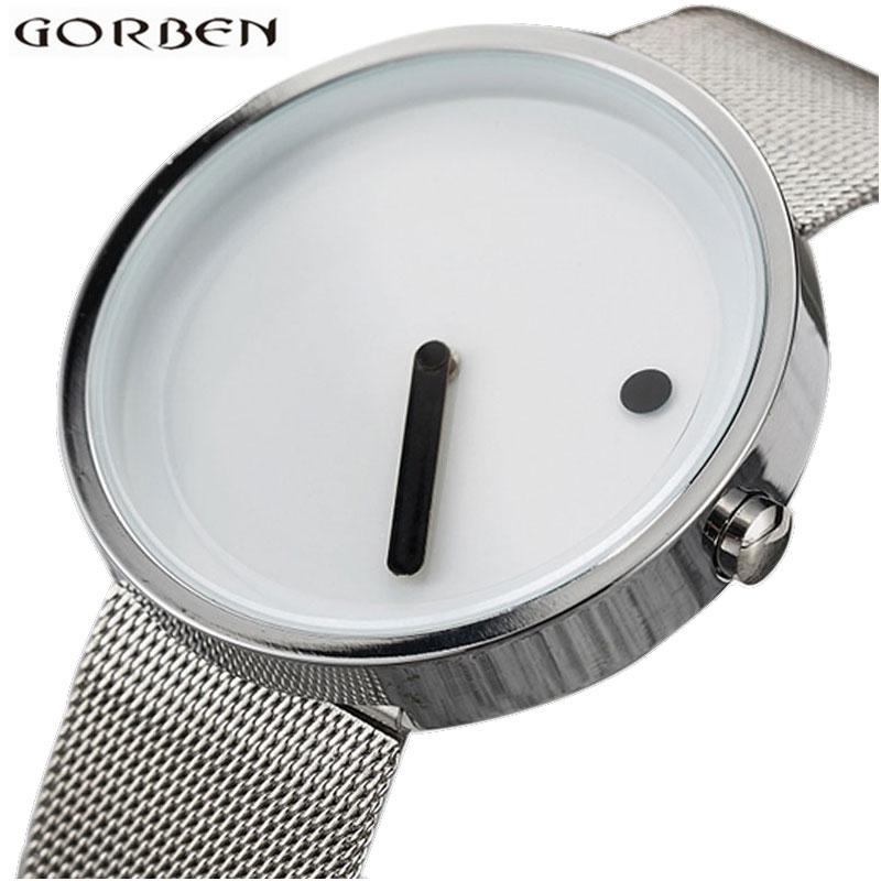 Creative Watches Minimalist Wristwatch Men Women Stainless Steel Mesh Strap Simple Design Bracelets Sports Watch Hodinky Clock