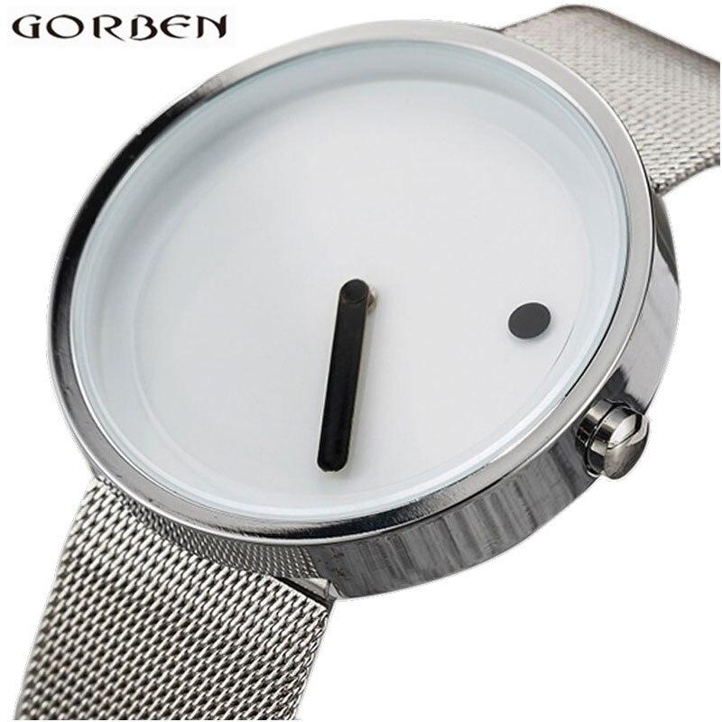 Relojes creativos reloj de pulsera minimalista hombres mujeres correa de malla de acero inoxidable pulseras de diseño Simple reloj deportivo reloj Hodinky