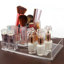 Transparent Plastic Makeup Brush Make Up Box Organizer Storage Shelf Acrylic Nail Polish Lipstick Cosmetic Rack(China)