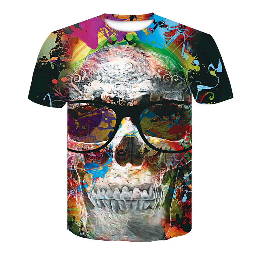 Red spy 2018 Summer New O-Neck Men's T-shirt 3D Skull Series Casual Fashion Short-Sleeve T-Shirt Loose Tops free shipping