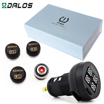 SZDALOS TP200 TPMS  Car Wireless Tire Pressure Monitoring System + 4 Mini Sensors  Cigarette Tyre Pressure Monitoring - DISCOUNT ITEM  0% OFF All Category