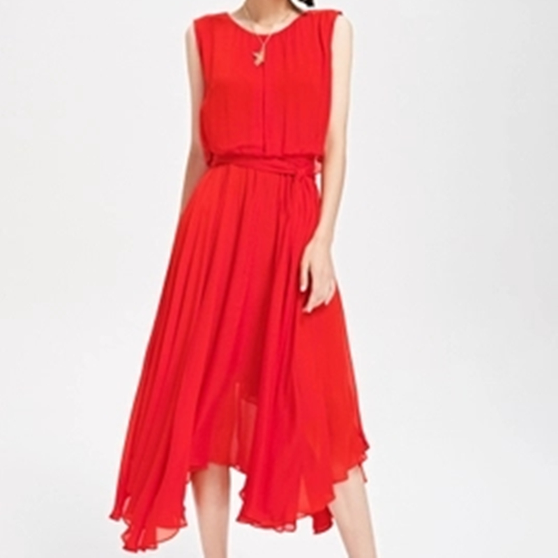 Été Sans Rond Robe Manches 2019 Robes Pur Col Nouveau Red Taille Xjj286 Temperamet Mode Femme Élégance Couleur Recueillir rpq7RrPw