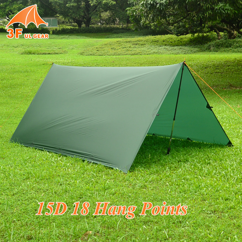 3F Ul Gear 15D Nylon Silicone Ultralight Tarp Awning Sun Shelter Lightweght Camping Equipment 3 3m
