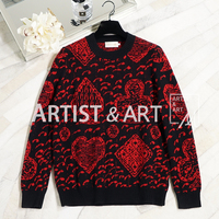 Svoryxiu High Quality Winter Wool Knitting Sweaters Women's Red blackColor Matching Loose Designer Pullovers Sweaters