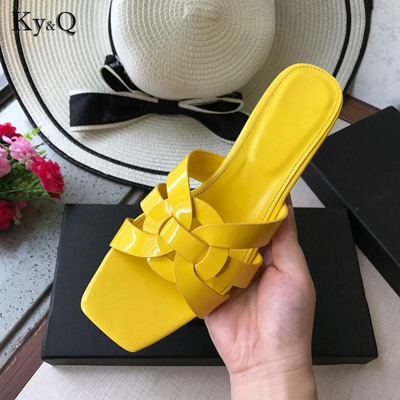 ec07fe7a2c8 Luxury brand Flat slippers cut out summer beach sandals Fashion women  slides outdoor slippers indoor slip ons flip flops 35-41