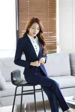 2017 Hot Sale Full Cotton Regular New Style Blazer Women Business Suits Formal Office Work Sets Elegant Pantsuits Jacket+pants
