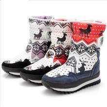 2017, Новая мода зимние Для женщин круглый носок теплые Снегоступы Милый принт с оленем хлопковые сапоги Обувь