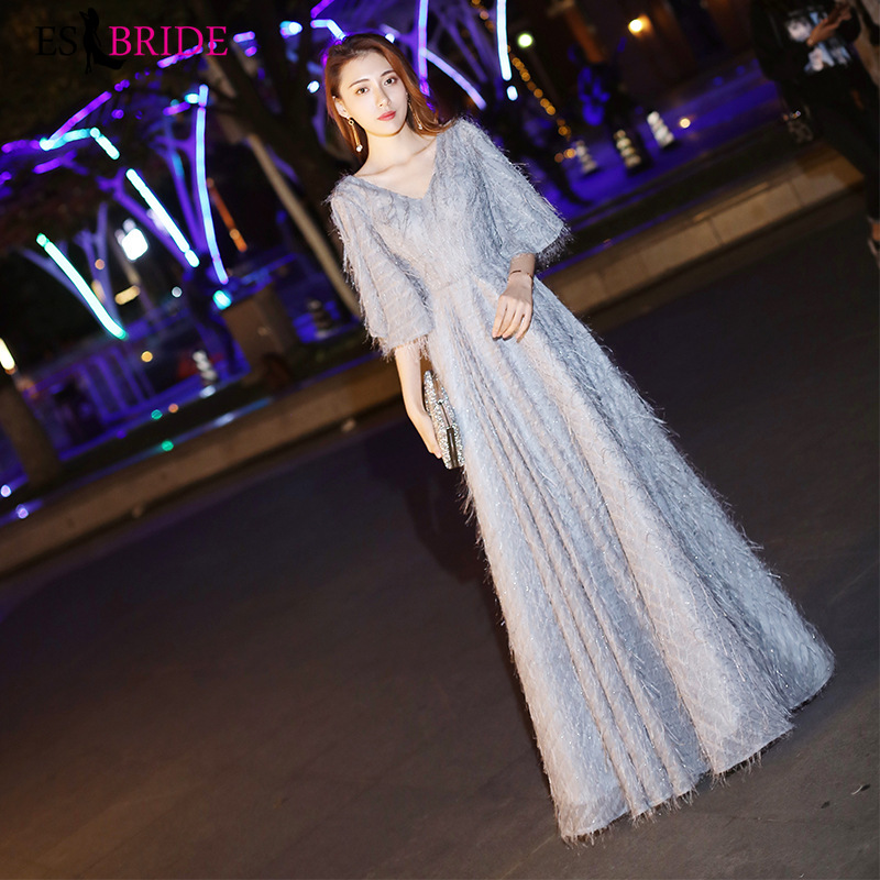 Elegant Lace   Cocktail     Dresses   Long Simple Grey Prom   Dress   Sexy Satin V-Neck Special Occasion Homecoming Party Gowns ES1806