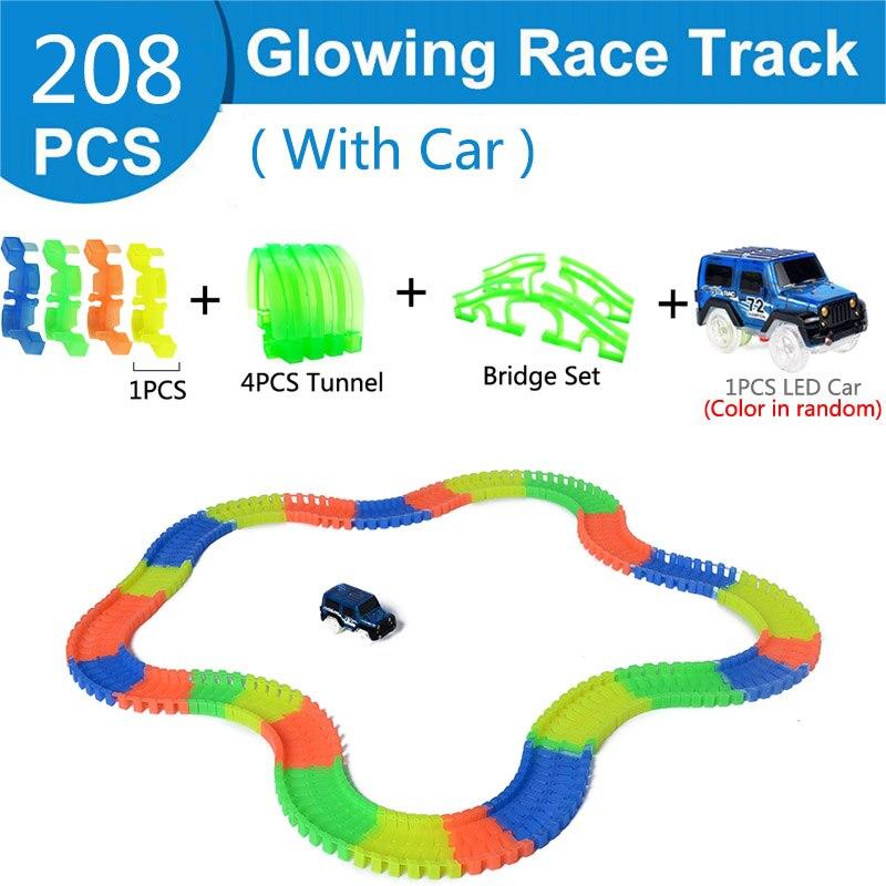 Железнодорожная волшебный светящийся гибкие трек автомобиль игрушки детей гонки изгиб рельсового пути привели Электронная вспышка света автомобиля DIY игрушки детям подарок - Цвет: 208pc 4tunnel bridge