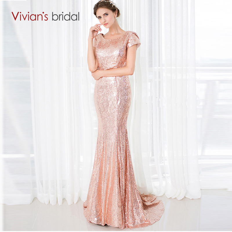 Vivian's Bridal Bridesmaid Dresses Long Short Sleeve Gold Sequin Mermaid Wedding Party Dresses 18286