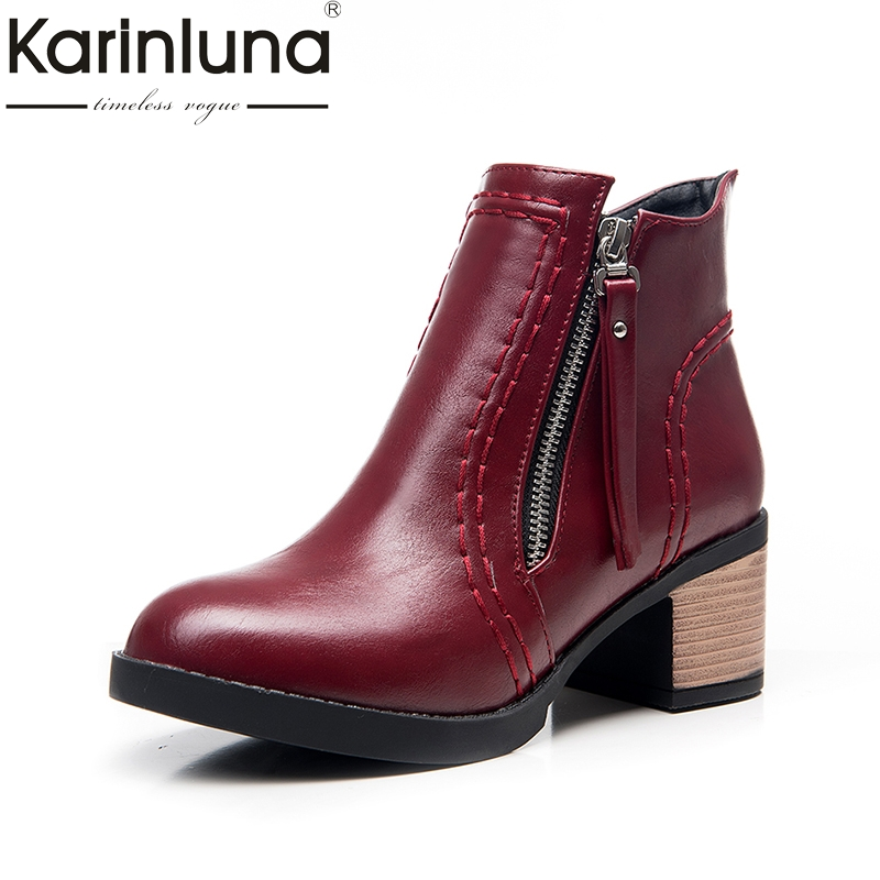 KARINLUNA 2017 Large Size 33-43 Square Heels Women Shoes Woman Bottine Leisure Ankle Boots 5 Colors Lady Footwear fall new belt buckle motorcycle boots large size women s shoes black beige leisure footwear