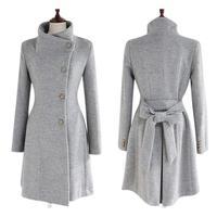 Yfashion Women Woolen Overcoat Long Sleeve Coat Fashionable Autumn Winter Jacket Slim Fit