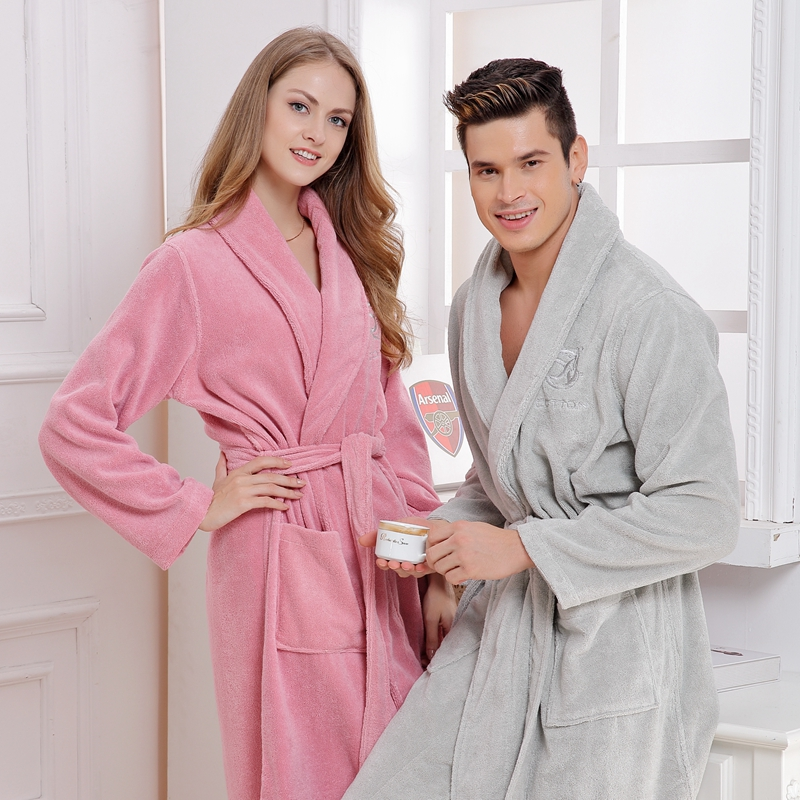 Winter Cotton women bathrobe nightgown men towel fleece nightdress sexy night robe white red lovers long soft