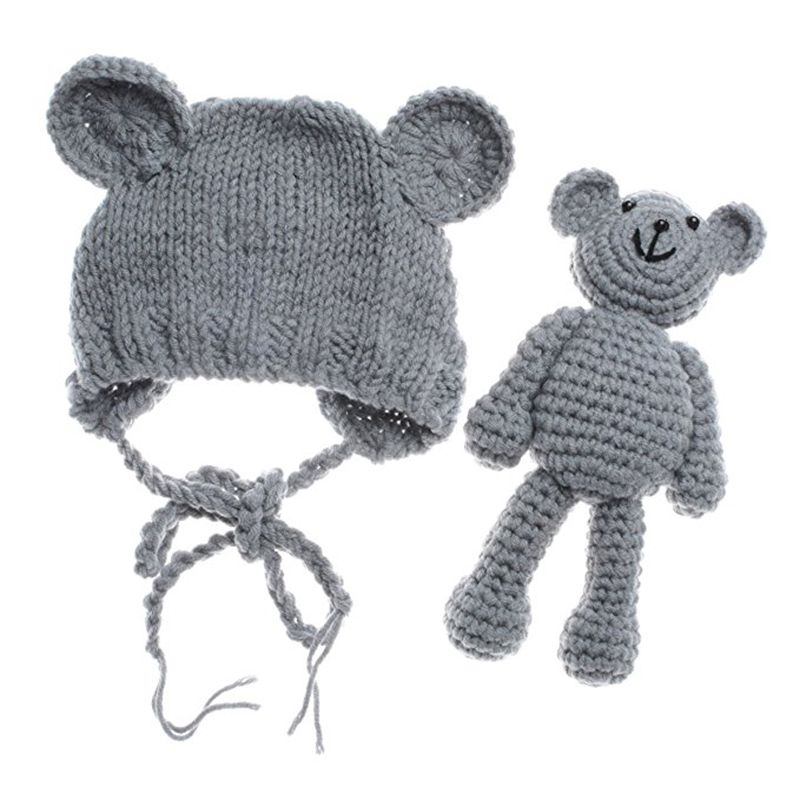 2018 New Newborn Baby Bear Hat Beanie With Bear Dolls Photography accessories