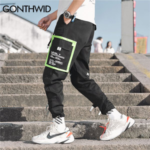 Image 4 - GONTHWID Çok Cepler Kargo Harem koşucu pantolonu Erkekler Hip Hop Moda Rahat Parça Pantolon Streetwear Harajuku Hipster Eşofman Altı