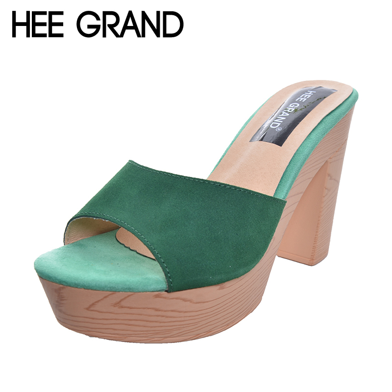 HEE GRAND Women Peep-toe Slides Candy Color Super High Heel Flock Sandals Summer Style Fashion Shoes XWZ3767 high quantity medicine detection type blood and marrow test slides