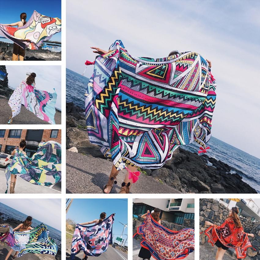 90x180cm Print Twill Cotton Pareo 2018 Summer Cover-Ups Rectangle Wrap Scarf Swimsuit Bikini Cover Up Autumn Beach Sarong Mats