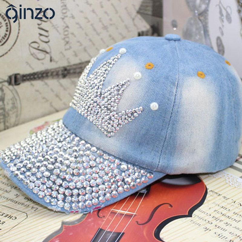 Women s fashion crown rhinestone pearl baseball cap Female casual denim hat  for summer Free shipping-in Baseball Caps from Women s Clothing    Accessories f7f98339492c