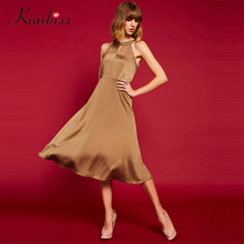 Kinikiss Women Halter Elegant Satin Dress Hollow Out Sexy Sleeveless Mid-Calf Vintage Dresses Bow Tie Fashion Night Party Dress