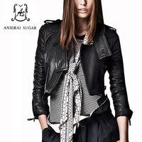 Spring genuine leather leather jacket women Black short sheepskin motorcycle clothing female korea slim Button design Jacket