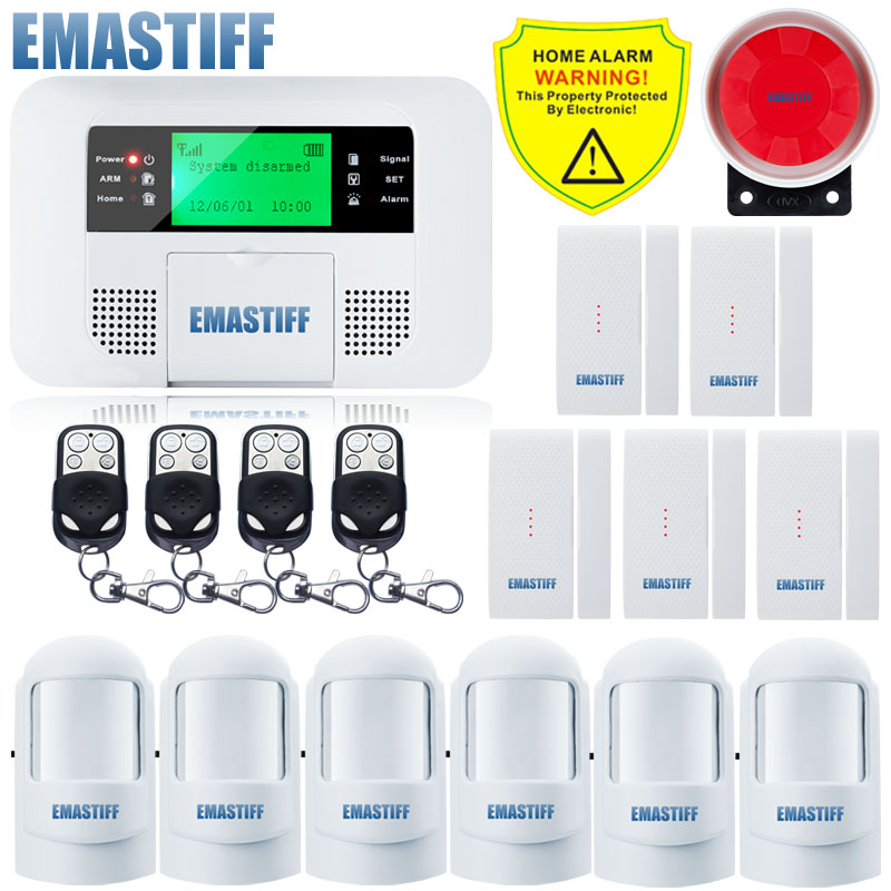 Free Shipping!Quad-band G4B GSM PSTN SIM Home security Alarm system Menu screen LCD Keyboard alarm English/Russian/Spanish Voice free shipping 99 wireless zone and 2 wired quad band lcd home security pstn gsm alarm system 3 pet immune pirs 5 new door sensor