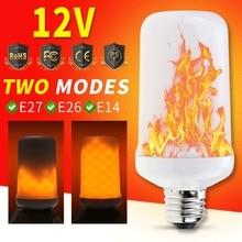 Ampoule Led E27 Candle Bulb SMD 2835 E14 Flickering Flame 12V DC Lamp Simulation Fire Burning E26 Christmas Light