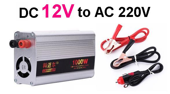Free Shipping 1000W DC 12V to AC 220V crocodile clip + cigarette lighter line Power Inverter Converter Transformer Power Supply стоимость