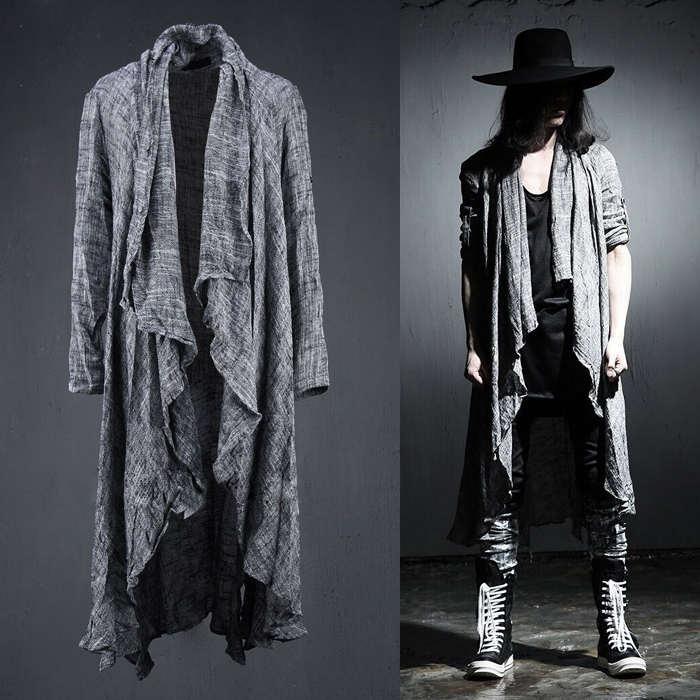 Весна Лето корейский Стильный Серый Черный Удлиненный Поп панк кардиган льняные рубашки для мужчин